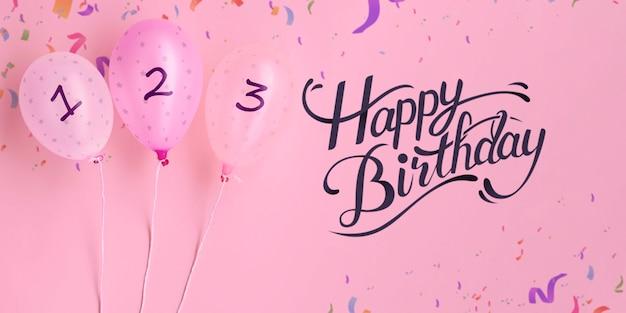 Feliz cumpleaños globos y confeti de cuenta regresiva