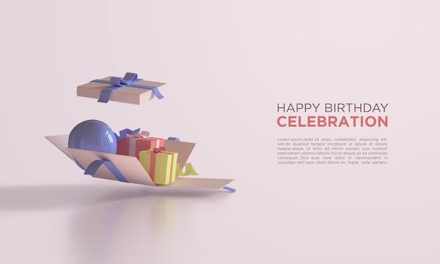 Feliz cumpleaños con globos de renderizado 3d en caja de regalo