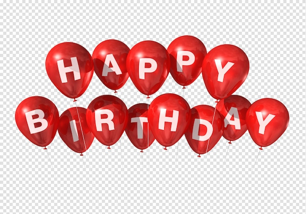 Feliz cumpleaños globos rojos