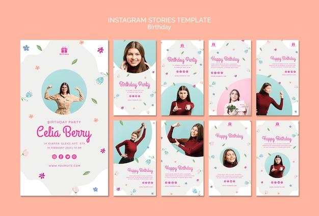 Feliz cumpleaños con historias de instagram de mujer joven