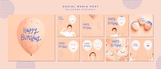 Feliz cumpleaños plantilla de publicación en redes sociales