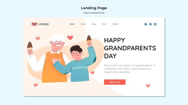 Feliz día de los abuelos diseño de página de aterrizaje