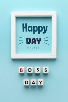 Feliz día del jefe con marco