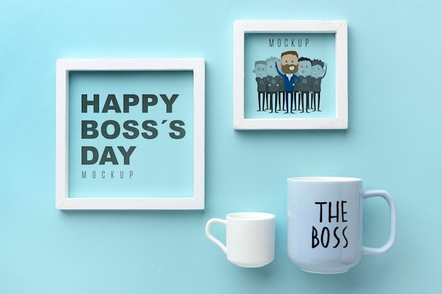 Feliz día del jefe con marcos y tazas