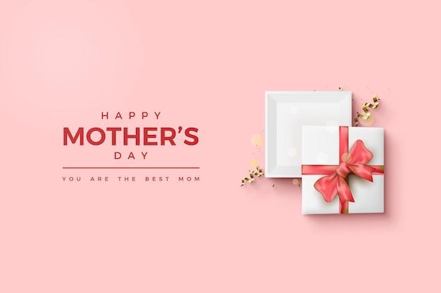 Feliz día de la madre con una ilustración de caja de regalo abierta PSD Premium