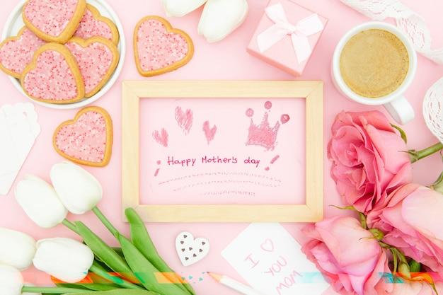 Feliz dia de la madre con marco y tulipanes