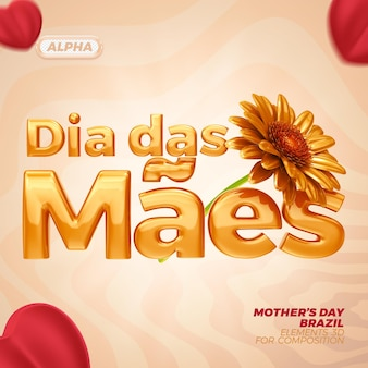 Feliz día de la madre renderizado 3d premium psd