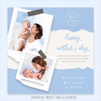 Feliz día de la madre saludo plantilla de banner de redes sociales