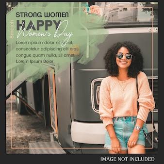 Feliz día de la mujer y 8 de marzo saludo plantilla de post de instagram
