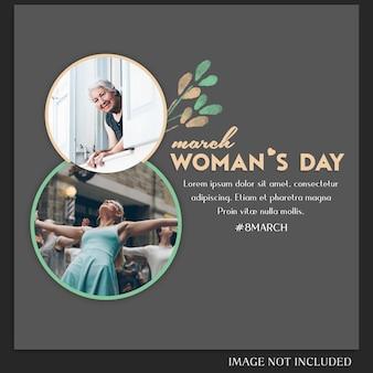Feliz día de la mujer y 8 de marzo, saludo a la plantilla de publicaciones de instagram