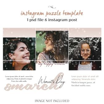 Feliz día de la mujer y plantilla de rompecabezas, cuadrícula o collage de instagram para el 8 de marzo