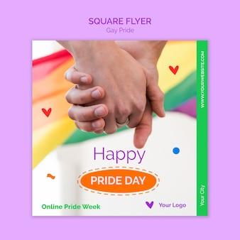 Feliz día del orgullo flyer cuadrado