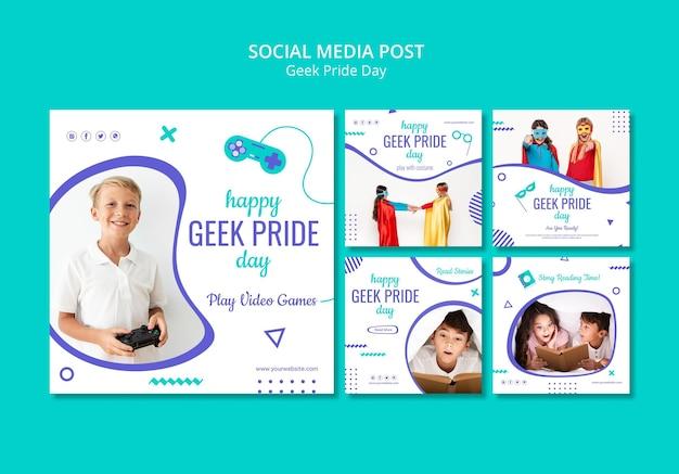 Feliz día del orgullo geek plantilla de publicación en redes sociales