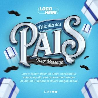 Feliz día del padre plantilla feed instagram en brasil