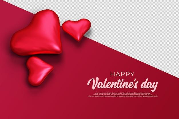 Feliz dia de san valentin con renderizado 3d transparente