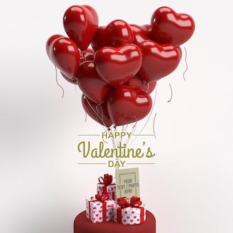 Feliz día de san valentín con tarjeta de felicitación, caja de regalo y maqueta de globos