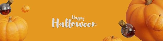 Feliz halloween banner 3d con calabaza