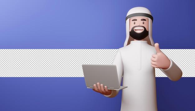 Feliz hombre musulmán pulgar hacia arriba con portátil en 3d rendering