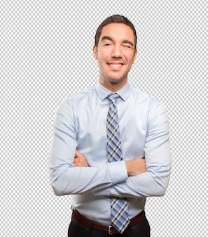 Feliz, homem negócios, piscando um olho