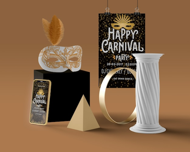 Feliz mensaje de carnaval y decoraciones
