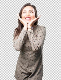 Feliz, mujer asiática