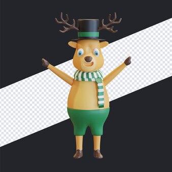 Feliz navidad ciervos con sombrero negro y bufanda a rayas verdes ilustración 3d