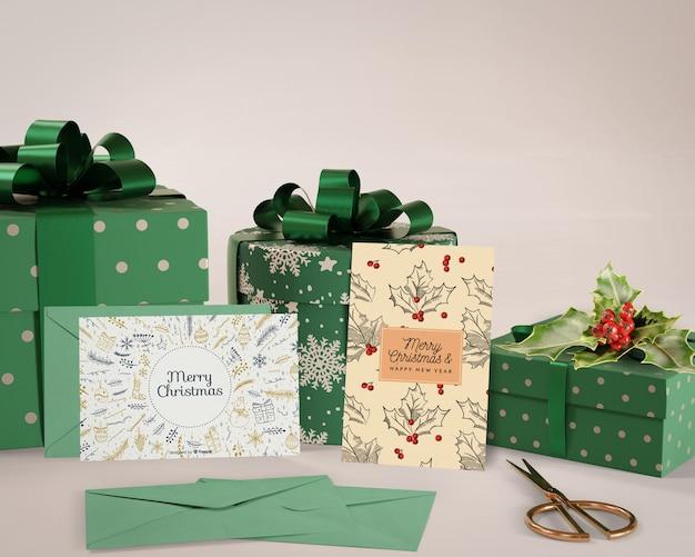 Feliz navidad con colección de regalos