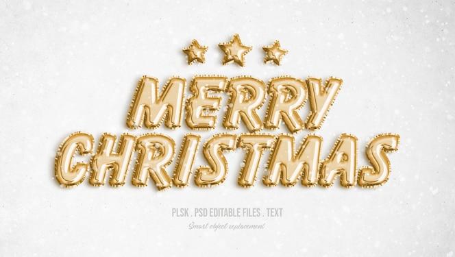 Feliz navidad efecto de estilo de texto 3d