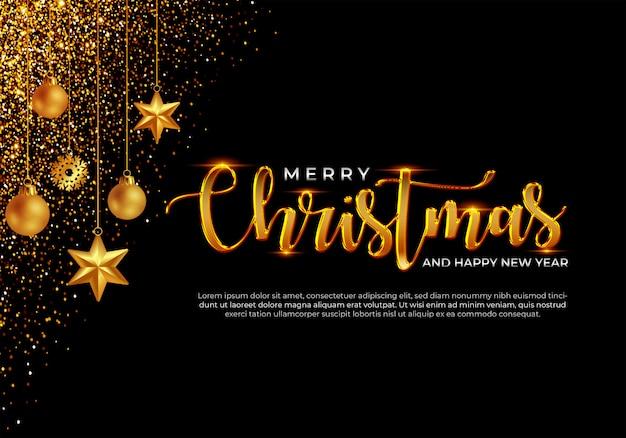 Feliz navidad y feliz año nuevo plantilla de banner premium psd