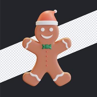 Feliz navidad pan de jengibre con sombrero de santa ilustración 3d