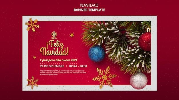 Feliz navidad-sjabloon voor spandoek met foto