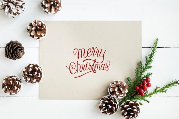 Feliz navidad tarjeta de felicitación maqueta