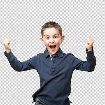Feliz niño pequeño signo ganador