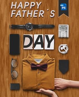 Feliz oficina del día del padre con elementos de regalos.