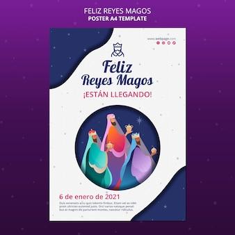 Feliz reyes magos sjabloon flyer