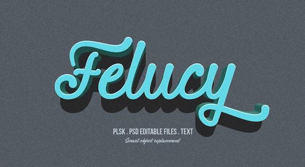 Felucy 3d effetto testo stile mockup