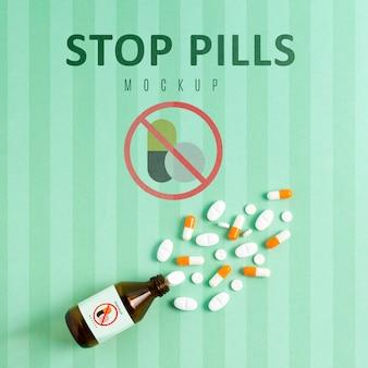 Ferma la dipendenza da pillole con il mock-up