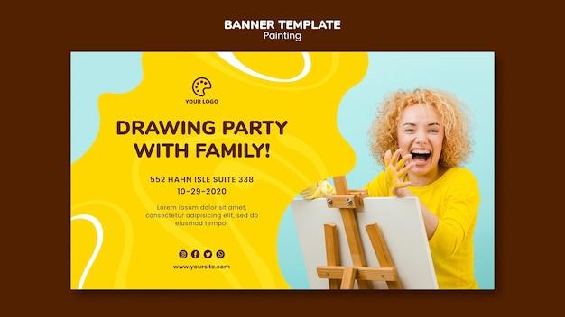 Festa di disegno con modello di famiglia