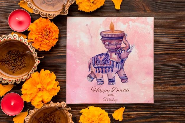 Festival de diwali maqueta de elefante de acuarela de vacaciones