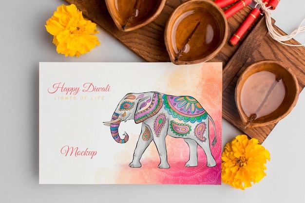 Festival de diwali maqueta de elefante plano lay