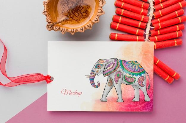 Festival de diwali maqueta de vacaciones elefante de acuarela