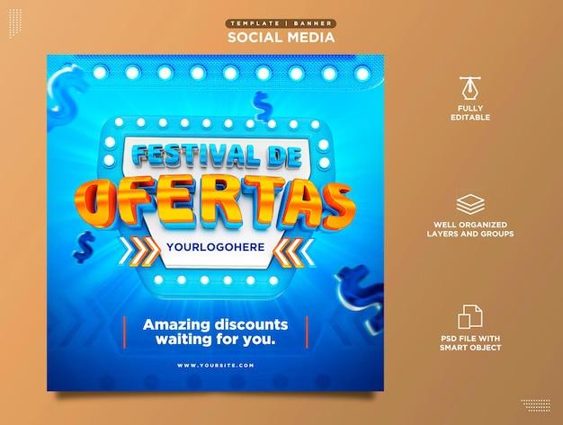 Festival van aanbiedingen social media template productpromotie