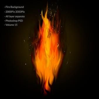 Fiamme di fuoco sul nero