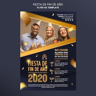 Fiesta de fin de ano 2020 flyer-sjabloon