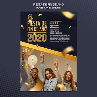 Fiesta de fin de ano 2020 poster sjabloon