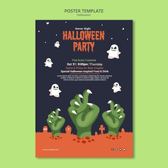 Fiesta de halloween en plantilla de póster zombie