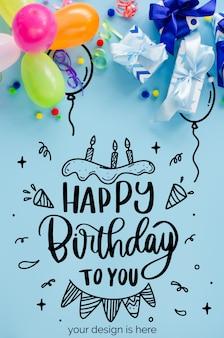 Fiesta o cumpleaños fondo azul. vacaciones simulacro. tarjeta de felicitación.