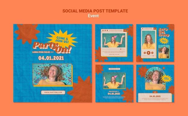 Fiesta en plantillas de publicaciones de instagram con foto