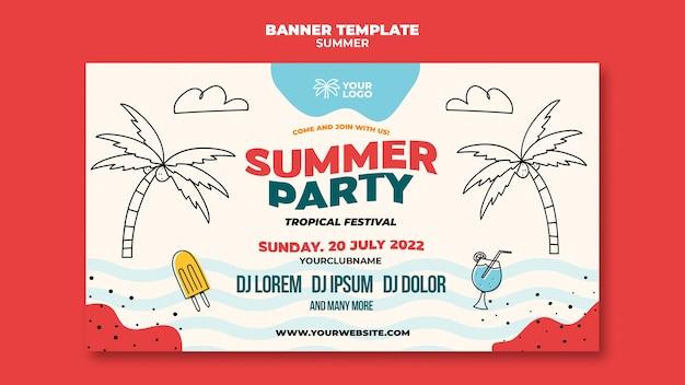 Fiesta de verano en la plantilla de banner de playa