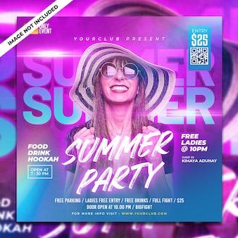 Fiesta de verano psd publicación en redes sociales